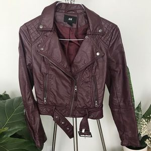 H&M faux leather burgundy Moto jacket